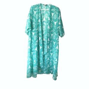 Turquoise Haven Bull Skull Kimono